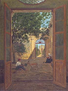 It has always been conjectured that this painting by Anton Schranz could be of the house of Count Saverio Marchese in Attard. It is now confirmed – an exhibition visitor recognised it as the garden of a family member's home in Attard – which home was once Count Saverio Marchese's residence.