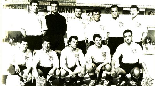 Hibernians FC as they lined up against Floriana in the Cassar Cup on February 17, 1960. Back row: J. Privitera, F. Mizzi, L. Theobald, J. Muscat, S. Anastasi, J. Bugeja. Front: Caruana, L. Sultana, J. Mizzi, E. Theobald, F. Xuereb.