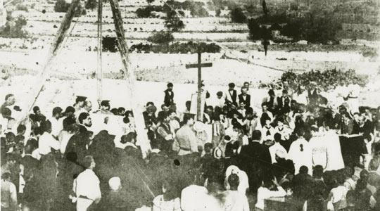 The laying of the foundation stone of the Holy Trinity Church, Marsa, on October 20, 1909.