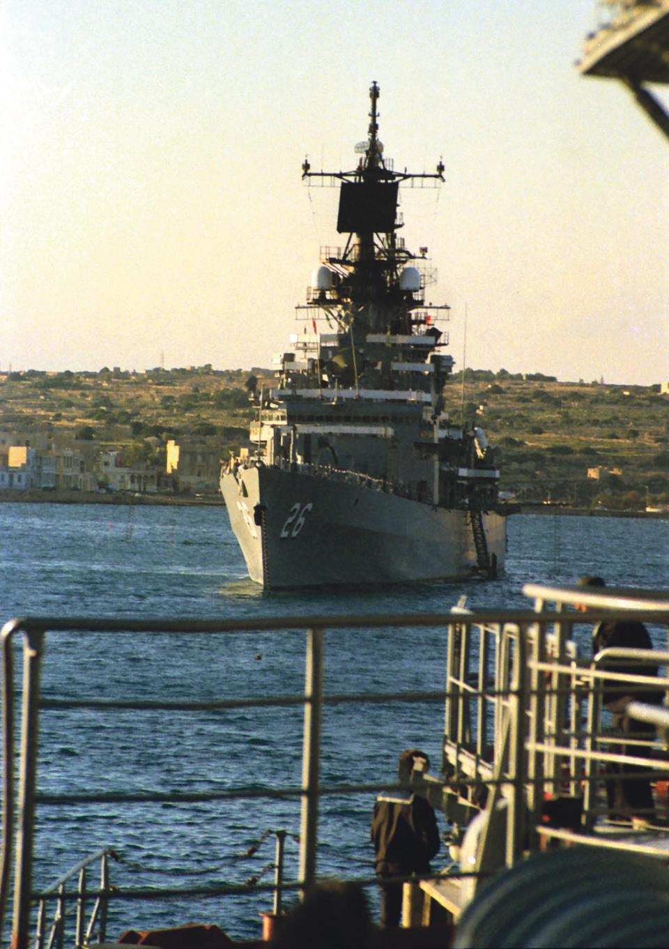 The US Navy ship docked in Birżebbuġa for the summit.