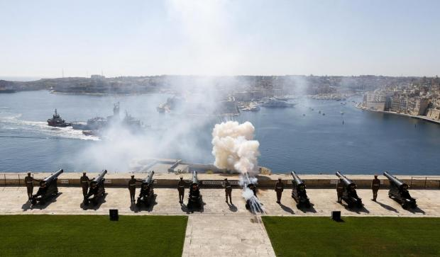 The Australian frigate HMAS Anzac receives a full gun salute from the Upper Barrakka Saluting Battery as it arrives in Valletta's Grand Harbour on May 11. The frigate visited Malta as part of the centenary commemoration of the Gallipoli campaign in World War One. Photo: Darrin Zammit Lupi