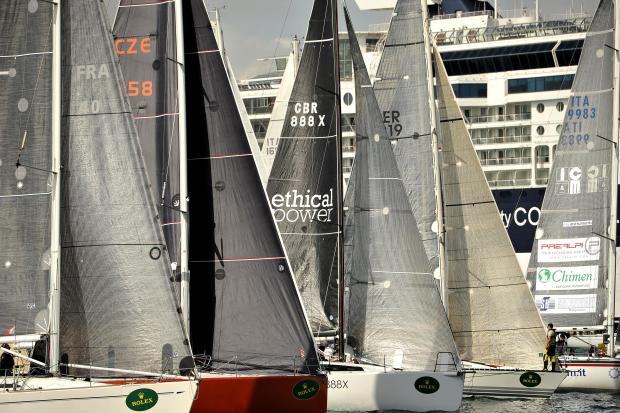 Sailboats jostle for position moments after the start of the Rolex Middle Sea Race in Grand Harbour on October 21. Photo: Chris Sant Fournier