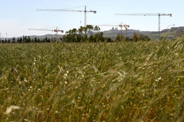 Cranes dominate the skyline leading to Mdina on February 29. Photo: Matthew Mirabelli