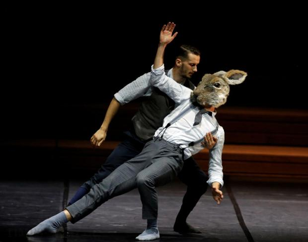 """Dancers of the British dance company Balletboyz perform in """"Rabbit"""", choreographed by Pontus Lidberg, during their show """"Life"""" at the Malta Arts Festival at Pjazza Teatru Rjal in Valletta on July 16. Photo: Darrin Zammit Lupi"""