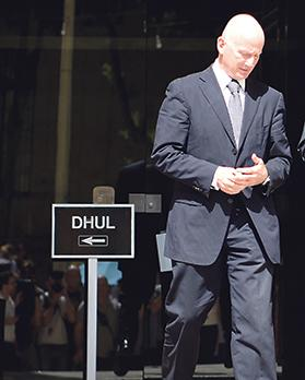 Adrian Hillman leaves court recently in connection with one of the magisterial inquiries into alleged kickbacks and money laundering between him and Keith Schembri. Photo: Chris Sant Fournier