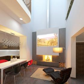 Fireplaces can coexist with TV displays, particularly in contemporary interiors.