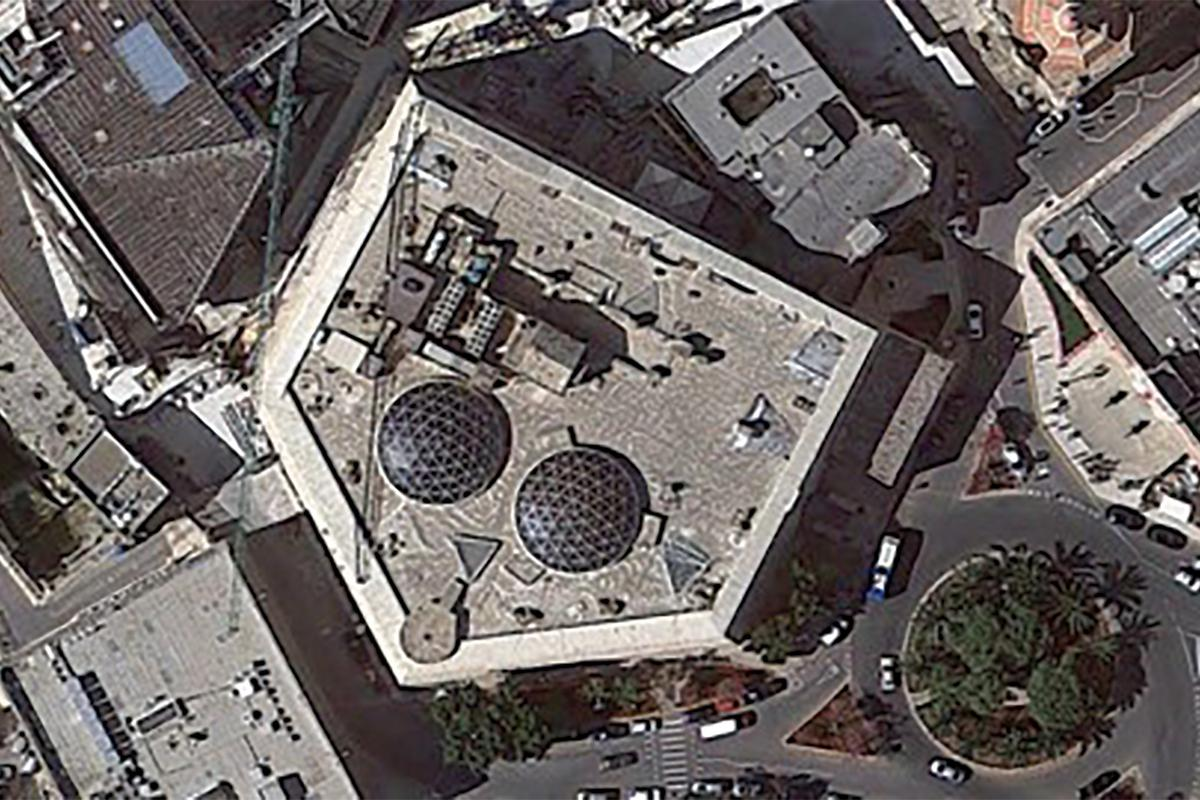 An aerial view of the pentagon-shaped St James Cavalier which dominated St James Bastion on the Valletta land-front.