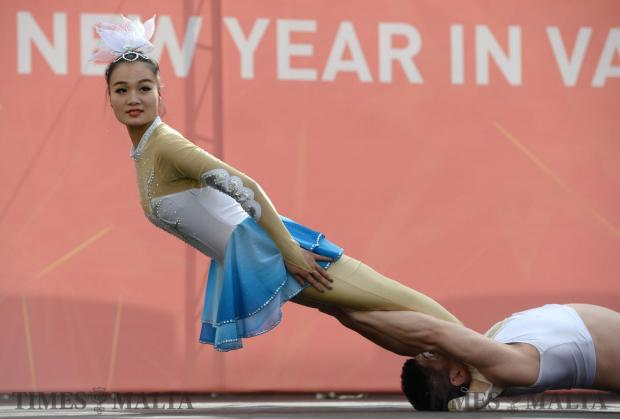 Members of the Luohe Acrobatic Troupe perform at the Pjazza Teatru Rjal in Valletta to celebrate the Chinese New Year on January 21. Photo: Matthew Mirabelli