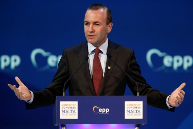 Manfred Weber speaking at the 2017 EPP congress in Malta. Photo: Reuters/Darrin Zammit Lupi