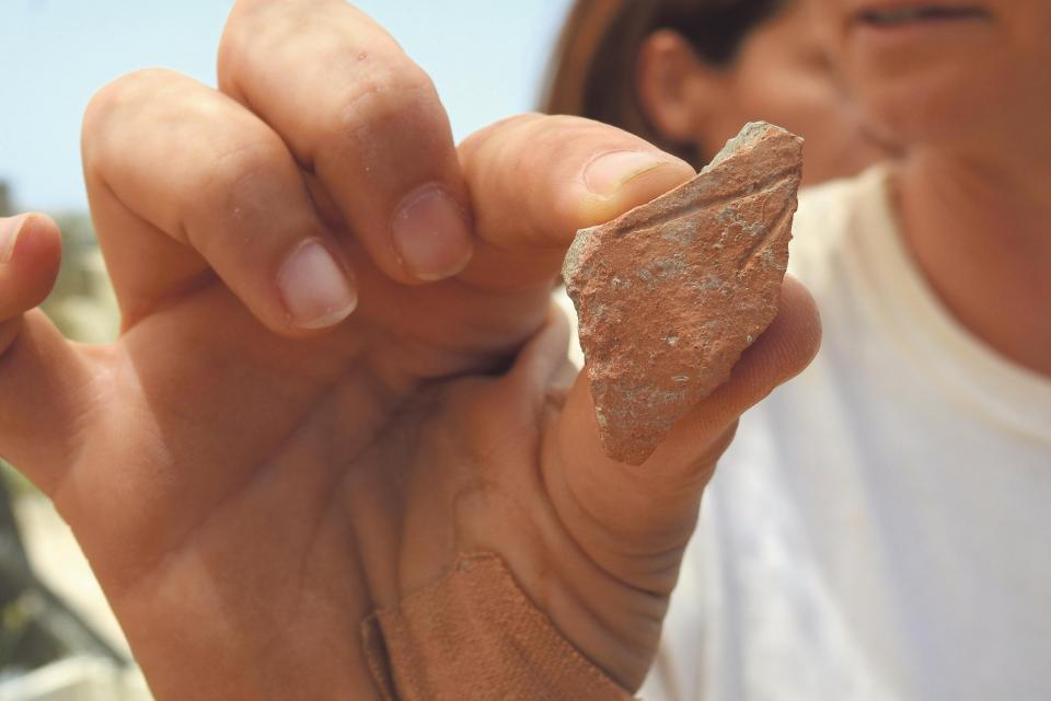 A pottery fragment with an inscription found during the current excavations.