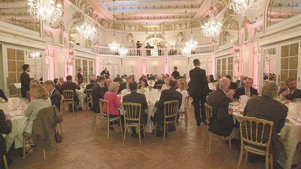 Guests at a dinner hosted by Corinthia at its newly-acquired Grand Hotel Astoria in Brussels.
