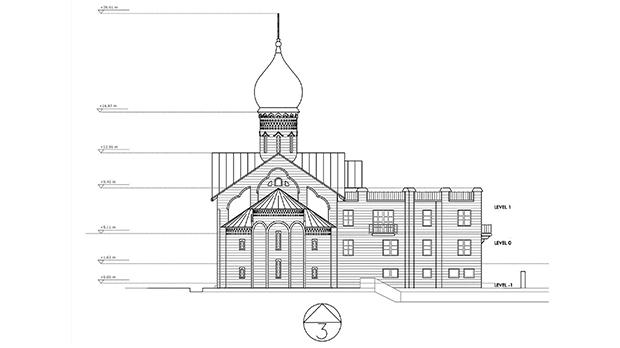 Architect's plan for the building, which will have a 26-metre spire.