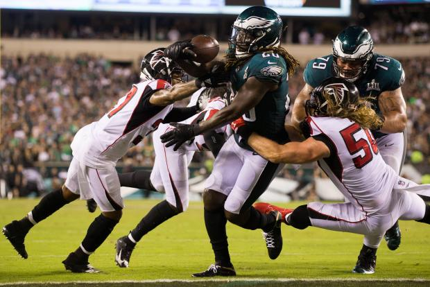 Philadelphia Eagles running back Jay Ajayi (26) scores on a two point conversion against the Atlanta Falcons during the fourth quarter at Lincoln Financial Field. Mandatory Credit: Bill Streicher-USA TODAY Sports