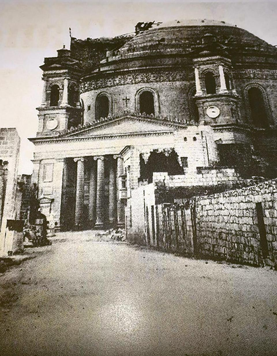 The Mosta dome in the mid-19th century, not quite ready.