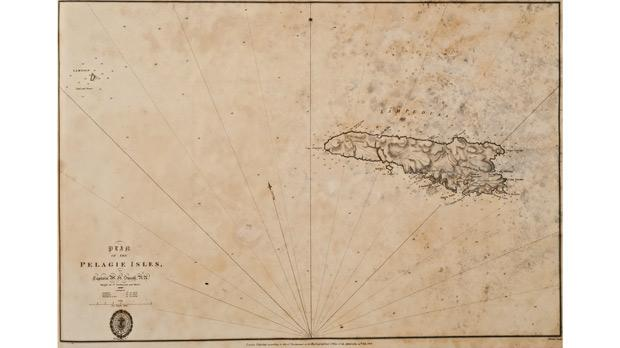 Engraved map of Lampedusa (above) and a chart of the island's harbour (below), dated 1823, produced by Capt. William Henry Smyth of the Royal Navy.