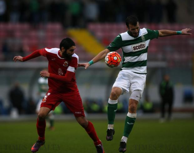Valletta's Jonathan Caruana (left) and Floriana's Ignacio Varela fight for the ball during their Premier League football match at the National Stadium in Ta'Qali on December 17. Photo: Darrin Zammit Lupi