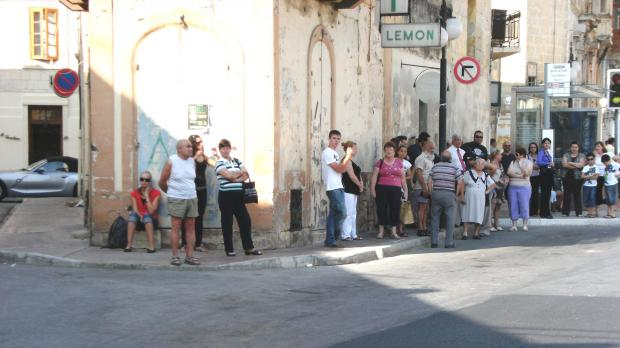 The queue at a bus stop in Zabbar this morning. Picture: Jessica Smith - mynews@timesofmalta.com