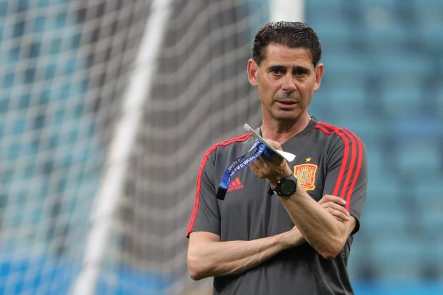 Spain coach Fernando Hierro during training.