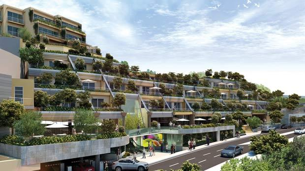 This artist's impression shows the car park would retain the green character of the currently undeveloped area through a series of terraces full of vegetation.