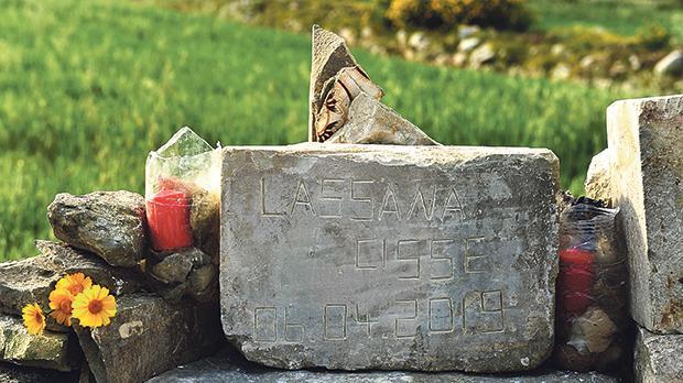 A roadside memorial to Lassana Cisse, who was killed in Birżebbuġa on April 6. Photo: Chris Sant Fournier