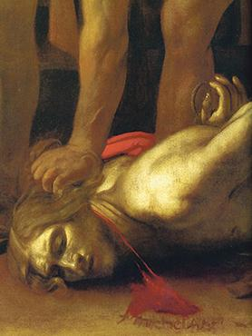 Detail, showing Caravaggio's signature.