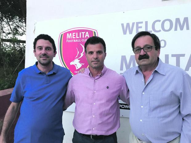 Melita's new coach Edmond Lufi (centre) with club president Andrew Naudi (left) and treasurer Joe Borg.