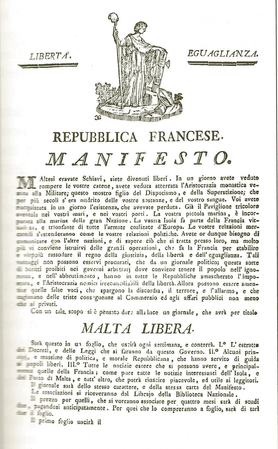 The manifesto of the Malta Libera. Courtesy of the National Library of Malta
