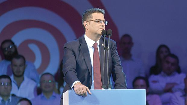 Adrian Delia made a short presentation, denying all claims levelled against him regarding domestic violence, money laundering and issues related to his personal finances.