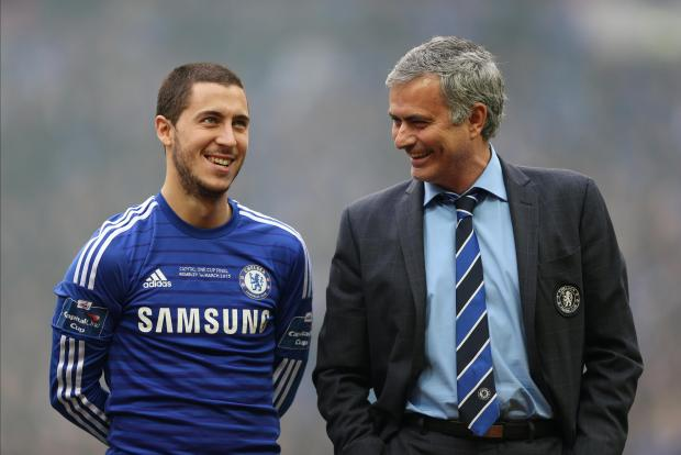 Eden Hazard (left) and Jose Mourinho during his time at Chelsea