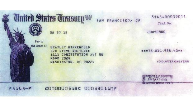 The cheque for what remained, after taxes, of his €97 million reward from the US Treasury.