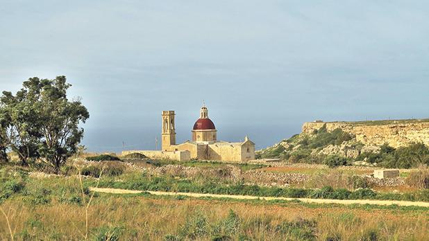 The panoramic setting of the chapel of Our Lady of Victories in Mtaħleb.