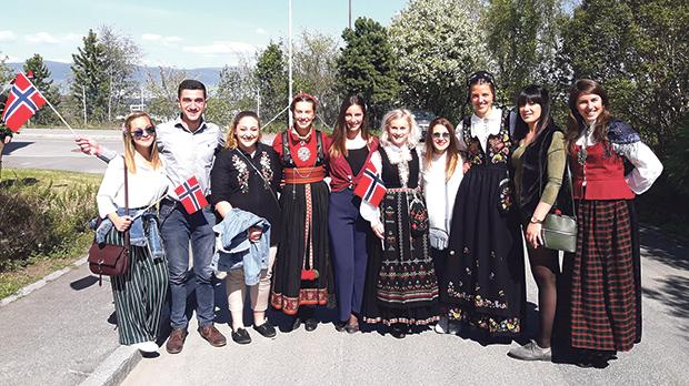 The Maltese student delegation with their Norwegian counterparts celebrating the Norwegian Constitution Day.