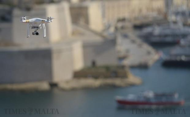 A drone flies over the Grand Harbour in Valletta on January 9. Photo: Matthew Mirabelli