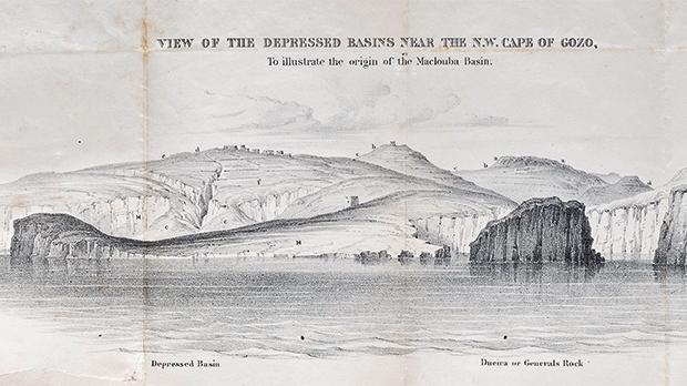 The illustration of Dwejra in a book dated 1854 by Thomas Spratt shows no Azure Window.