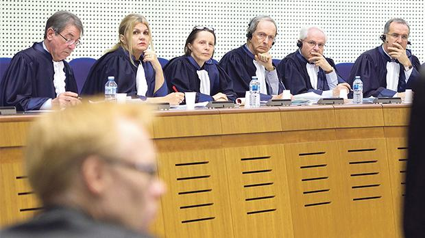 Chief Justice Emeritus Vincent Degaetano, second from right, at the ECHR.