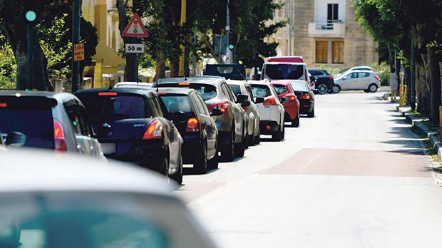 Roadworks in Triq il-Linja created gridlock in Attard. Photo: Matthew Mirabelli