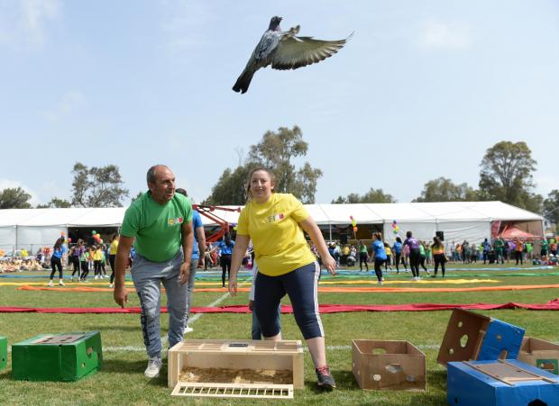 Pigeons are released at the start of the Puttinu Marathon at Marsa on May 18. Photo: Matthew Mirabelli