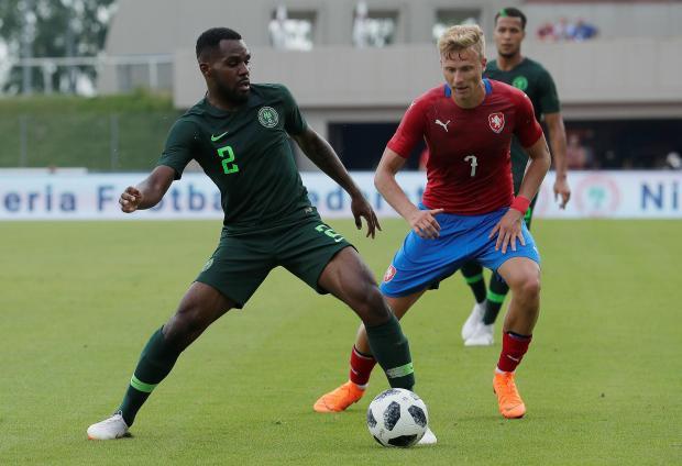 Nigeria's Brian Idowu in action with Czech Republic's Antonin Barak.