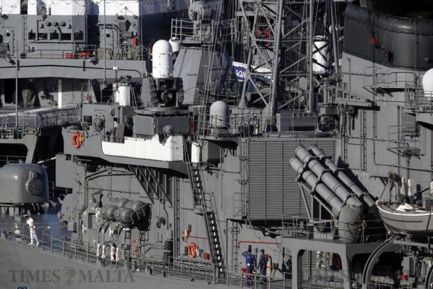 Crew members walk on the deck of destroyer SJ Setoyuki, part of the Japan Maritime Self Defense Force (JMSDF) training squadron, in Valletta's Grand Harbour on August 29. Photo: Darrin Zammit Lupi