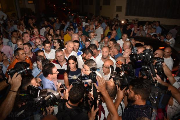 Nationalist Party Leader candidate Adrian Delia and his wife address the media after he was elected to the next round on September 02. Photo Mark Zammit Cordina