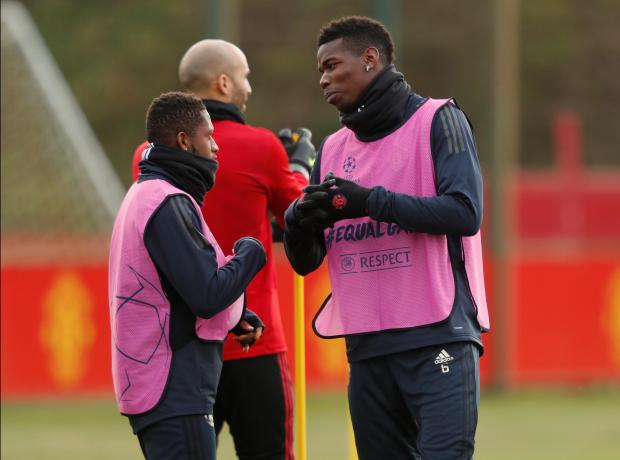 Paul Pogba (right) with fellow midfielder Fred during training.