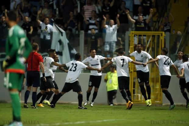 Hibernians' players celebrate after Jackson Lima scored the winning goal against Maccabi Tel Aviv during their Champions League second qualifying round match at Hibs Stadium on July 14. Photo: Darrin Zammit Lupi
