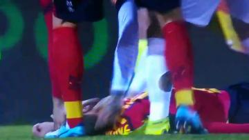 Watch: Lecce player under observation after falling unconcious