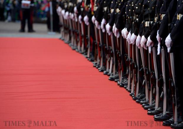 Members of the Armed Forces of Malta await the arrival of President Hashim Thaci of Kosovo at St George's Square in Valletta on December 4. Photo: Matthew Mirabelli