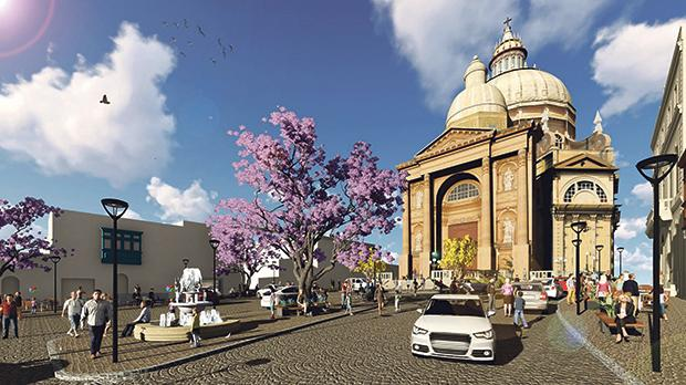 An artist impression of the regeneration of St John the Baptist Square in Xewkija.