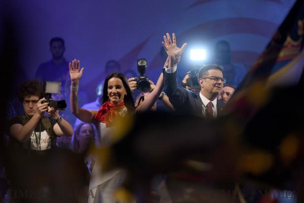 Adrian Delia soaks up the crowd's applause after his first mass meeting address On September 20. Photo: Jonathan Borg