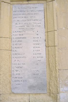 A plaque outside the gallow's room listing the names and dates of executions in the prison precincts.