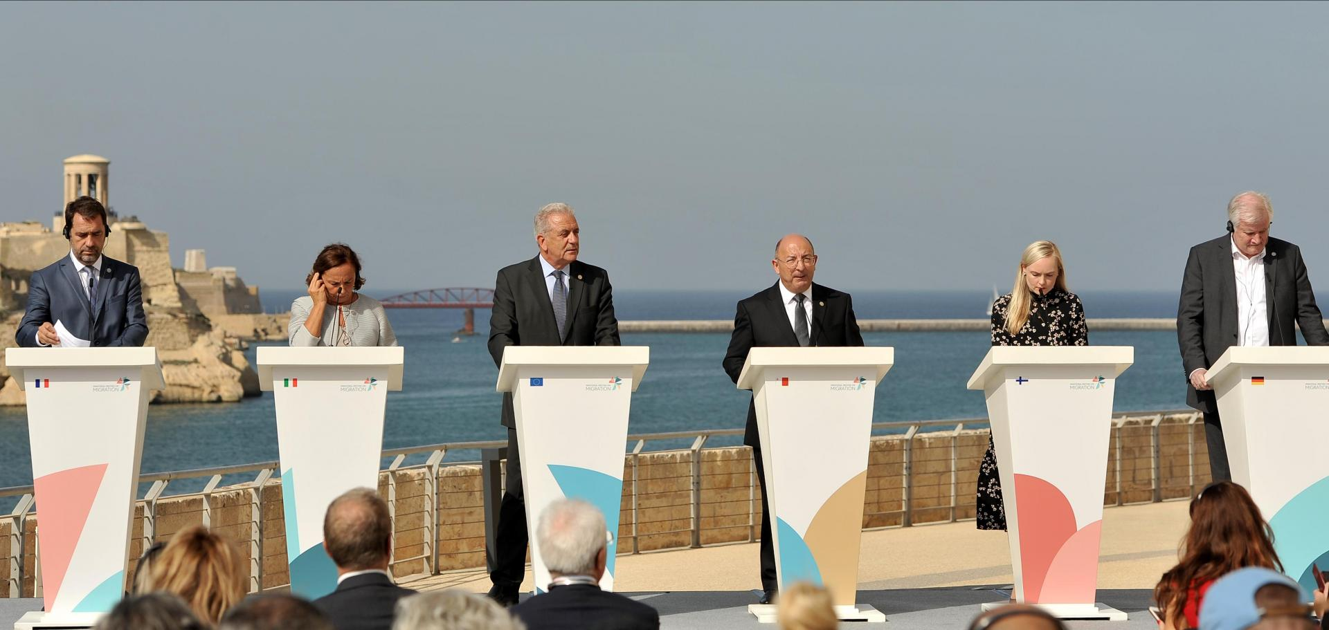 From left: French minister Christophe Castaner, Italian minister Luciana Lamorgese, EU Commissioner Dimitris Avramopoulos, Maltese minister Michael Farrugia, Finnish minister Maria Ohisalo and German minister Horst Seehofer. Photo: Chris Sant Fournier