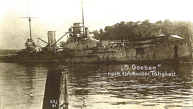 Yavuz Sultan Selim (SMS Goeben) beached in the Dardanelles after the Battle of Imbros.