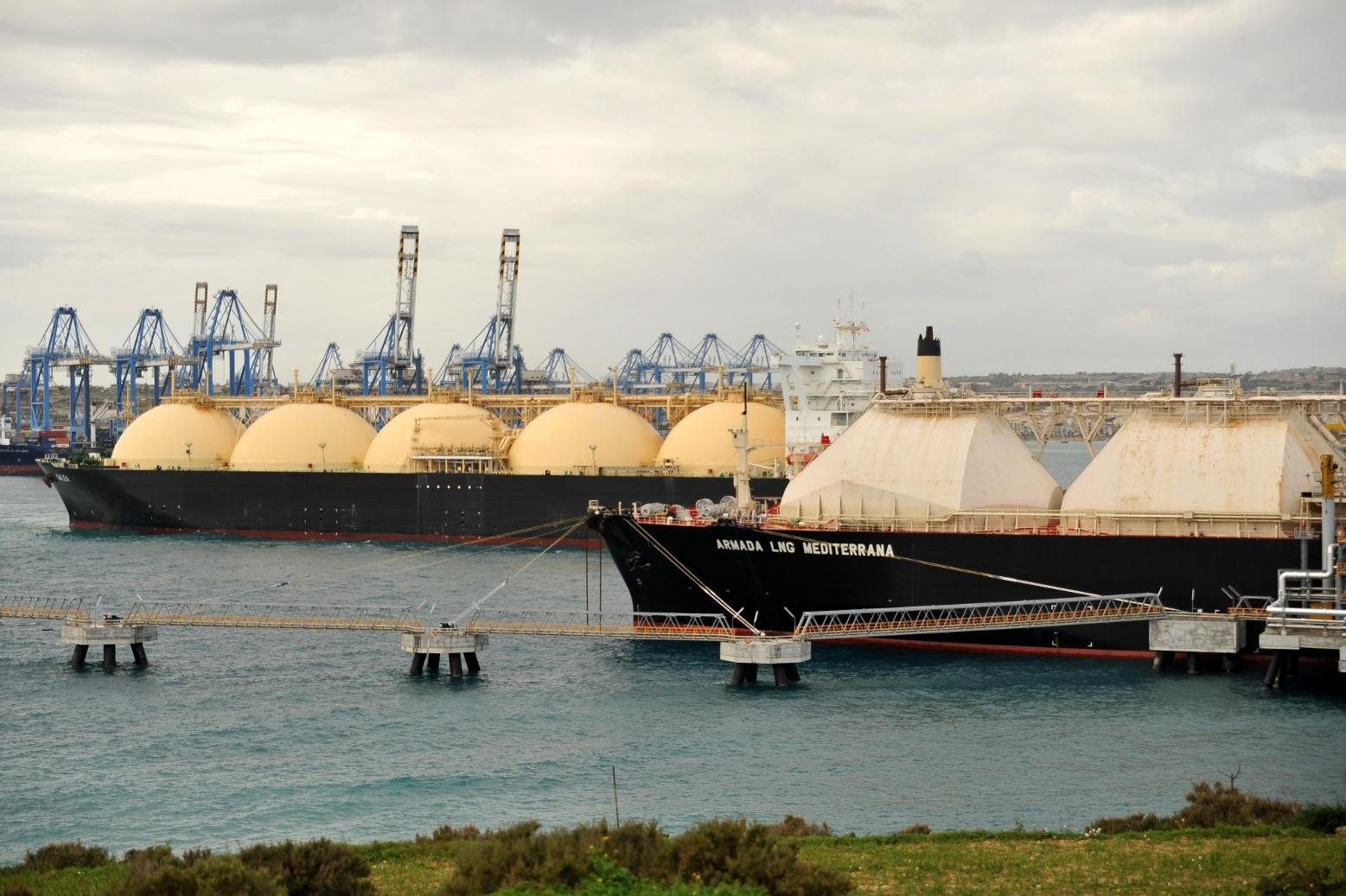 The LNG tanker that is used to fuel the gas-fired Electrogas power station. Photo: Chris Sant Fournier